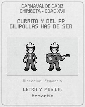 Libreto de Chirigota Currito Y Del Pp Gilipollas Has De Ser del Carnaval de Cadiz