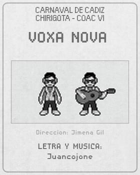 Libreto de Chirigota Voxa Nova del Carnaval de Cadiz