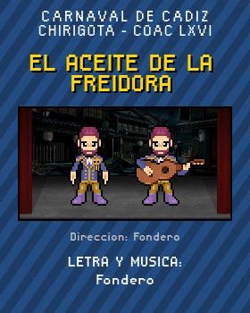 Libreto de Chirigota El Aceite De La Freidora del Carnaval de Cadiz