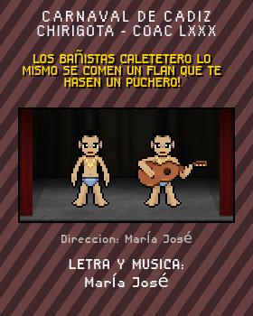 Libreto de Chirigota Los Bañistas Caletetero Lo Mismo Se Comen Un Flan Que Te Hasen Un Puchero! del Carnaval de Cadiz